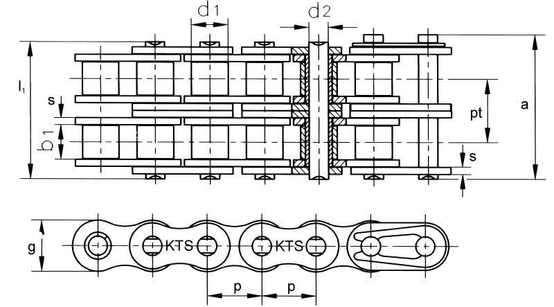 5 Meter Zweifach Rollenketten nach DIN 8187